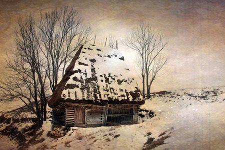 mot: Vintage Romanian wooden cottage Stock Photo