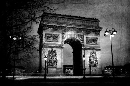 Triumph arch from Paris at night on vintage paper photo