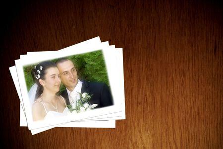 Wedding photographs on table Stock Photo - 6509056