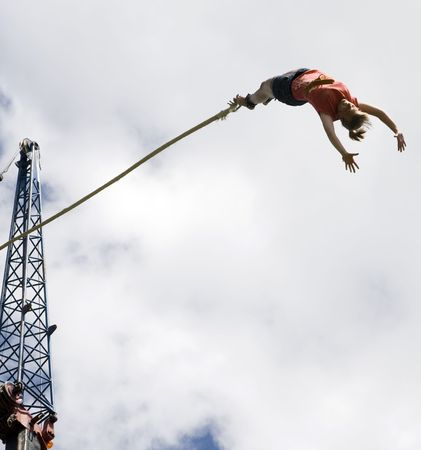 air jump: Bungee jumping  Stock Photo
