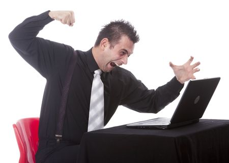 Businessman destroying his PC  photo