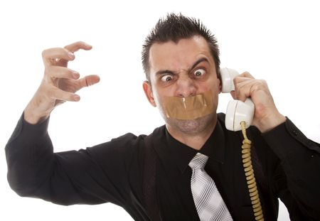 Funny businessman with tape on his mouth photo