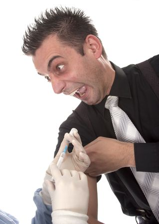 Funny young man scared of injections photo