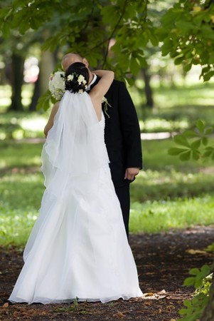Bride and groom kissing in park Stock Photo - 7348445