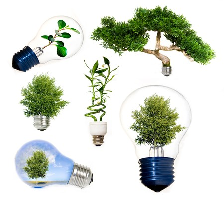 inventions: Collection of green energy symbols  Stock Photo