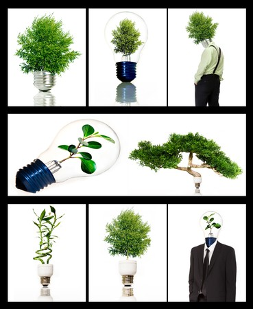 Collection of green energy symbols  photo