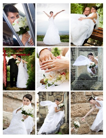 Collage of wedding photos  photo