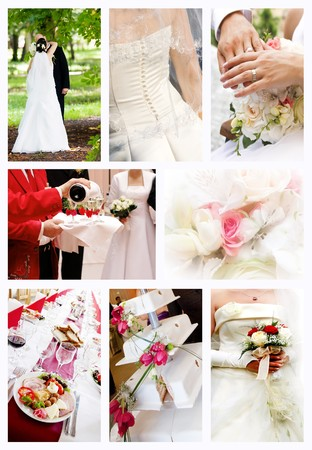 wedding bands:  Collage of wedding photos