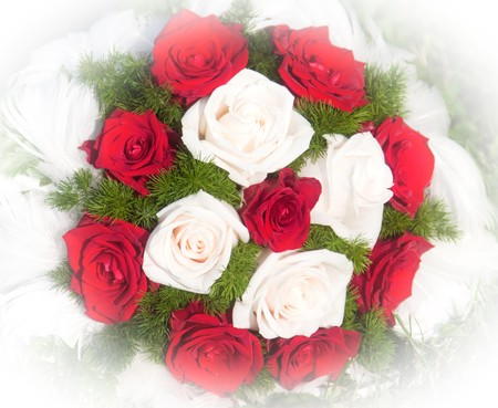 Wedding bouquet of red and white roses  photo