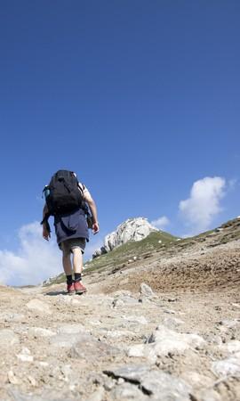 hillwalking: Man trekking in high mountains