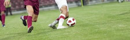 Voet bal spelers uitgevoerd na het bal