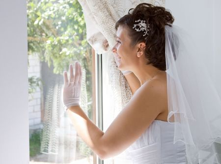 marriageable: Bride waving  Stock Photo