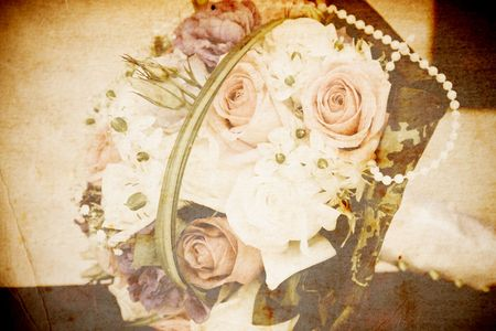 Vintage card of wedding bouquet photo