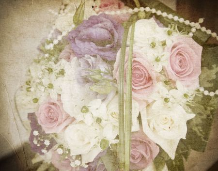 Vintage card of wedding bouquet
