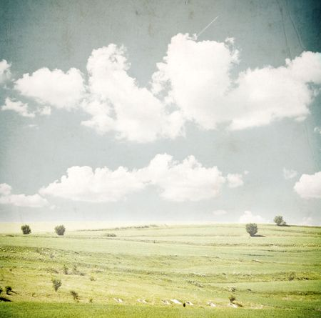 grunge image of green field and blue sky  photo
