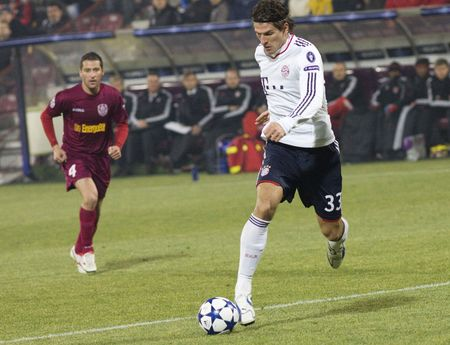 CLUJ-NAPOCA, ROMANIA - NOVEMBER 3 - Mario Gomez in the UEFA Champions League match between CFR 1907 Cluj and FC Bayern Munchen - Cluj-Napoca on November 3, 2010