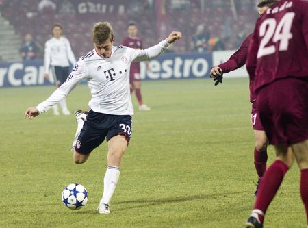 CLUJ-NAPOCA, ROMANIA - NOVEMBER 3 - Toni Kroos in the UEFA Champions League match between CFR 1907 Cluj and FC Bayern Munchen - Cluj-Napoca on November 3, 2010 Stock Photo - 8160888