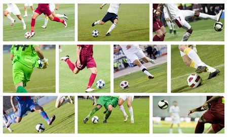 Set of images with soccer players fighting for the ball photo