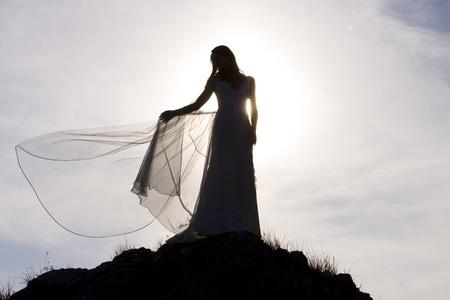 veil: Slhouette of bride standing on rock