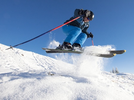 Man practicing extreme ski on sunny day Stock Photo - 8731850