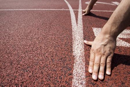 atletisch: Loper op starting line