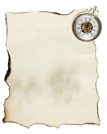 vintage pocket watch and old paper  photo