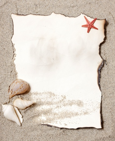 Old paper tag on natural sand with seashell  Stock Photo
