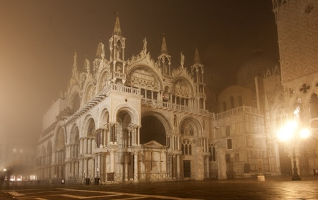 Piazza San Marco on foggy night, Venice, Italy  photo