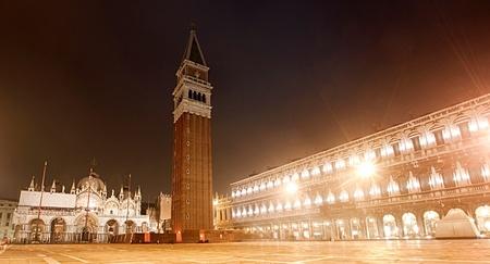 venician: Piazza San Marco on foggy night, Venice, Italy