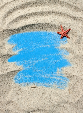 Holiday concept, sea sand frame with copy space  photo