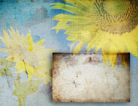 Grunge retro background with sunflowers and copy space  photo