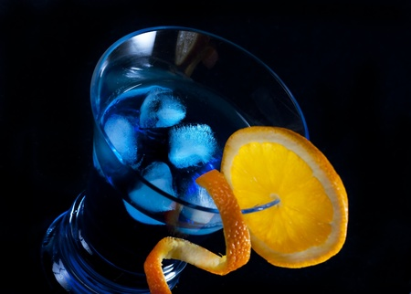 blue hawaiian drink: Blue cocktail on black background