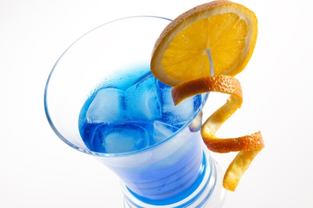 Blue Curacao cocktail isolated on white  Stock Photo - 13206568