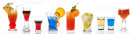 Different cocktails on white background  photo