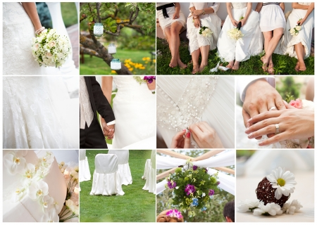 preparations: Wedding collage Stock Photo