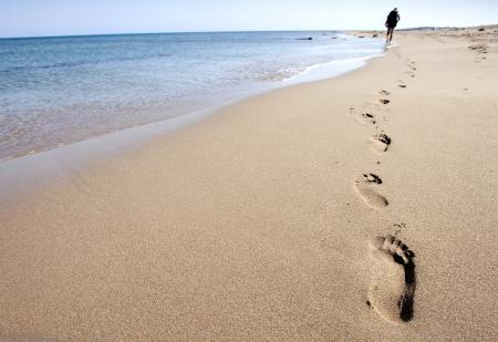 Footprints on beach