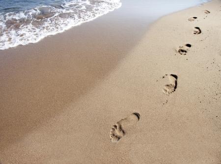 seashores: Footprints on beach