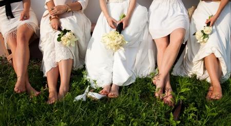 bridesmaids: Bride and bridesmaids legs