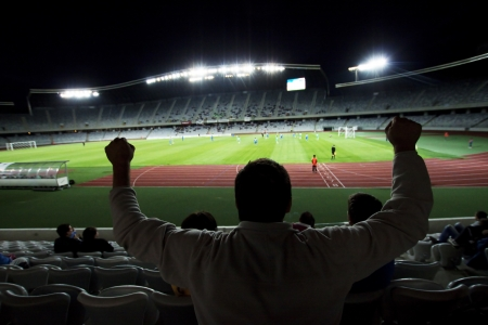 Stadium with fans silhouettes  photo