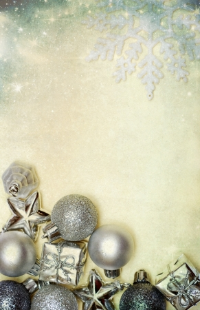 Vintage Christmas decoration with balls and copy space  photo