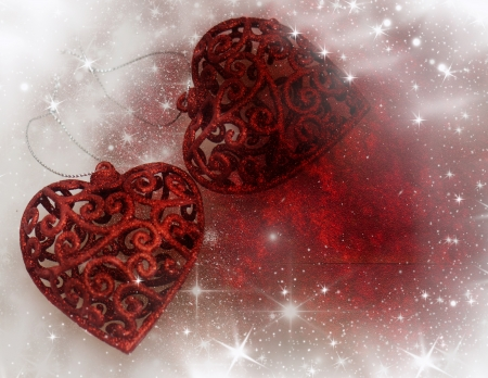 Vintage Christmas background with red hearts