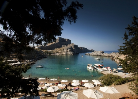 postcard from torquois hidden bay in Rhodes Greece  photo