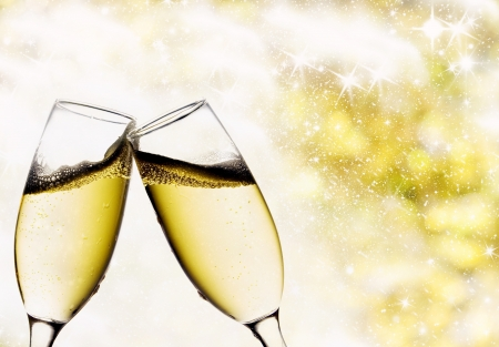 champagne bubbles: Vintage background with champagne glasses Stock Photo
