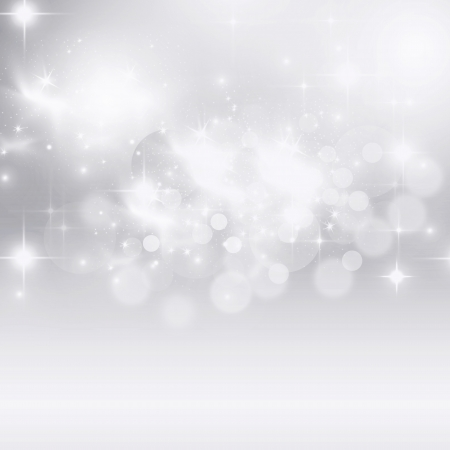 Light silver abstract Christmas background with white snowflakes  photo