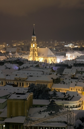 cluj: Night city view with St  Michael s Cathedral in Cluj, Romania