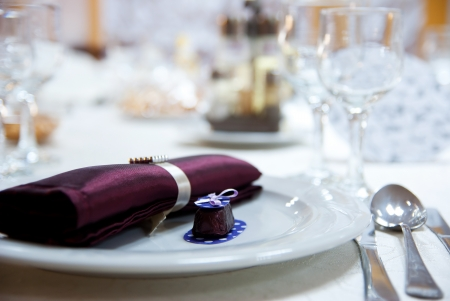 elegant decoration of table in a restaurant  Stock Photo