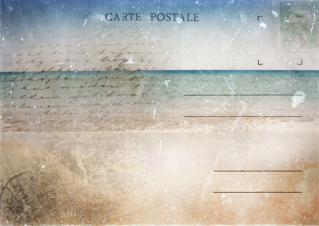Old vintage postcard with seascape and space for text photo
