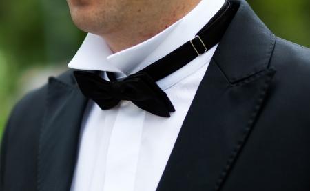 lazo negro: Corbata de lazo negro de cerca Foto de archivo