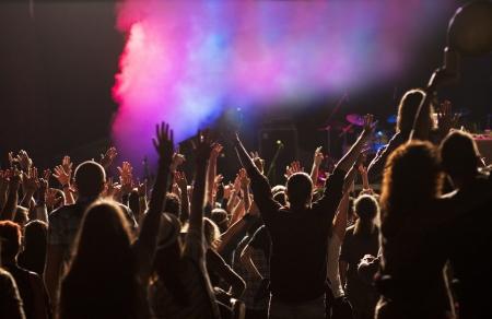 happy crowd: Crowd at concert Editorial