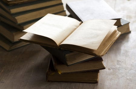 literary: Pile of old books - vintage photo Stock Photo
